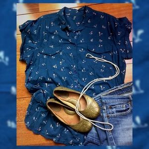Tops - Blue Floral Short Sleeve Blouse - 100% Cotton